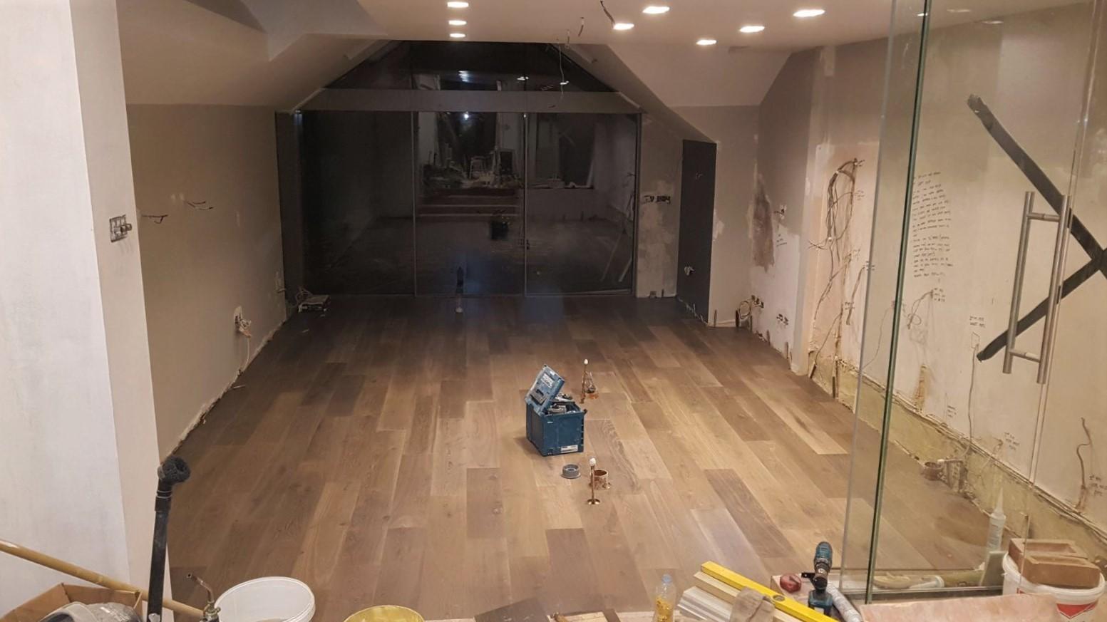 Kitchen renovation work in progress, view from inside