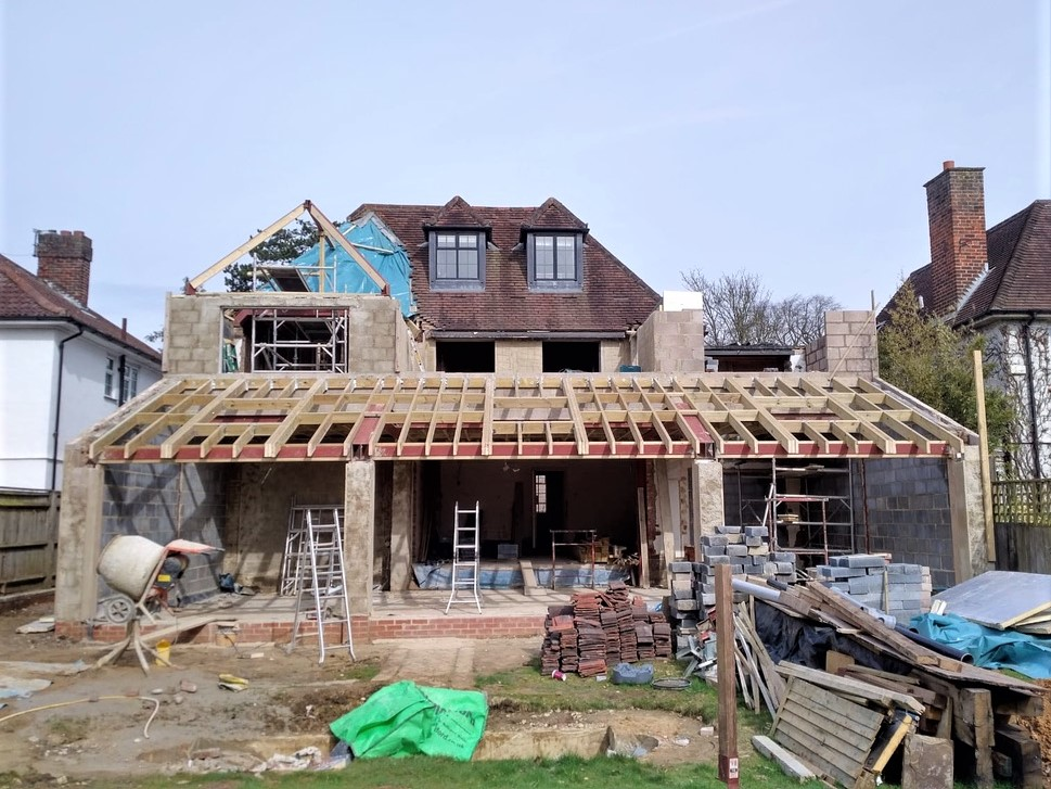 House extension and renovation construction view from outside
