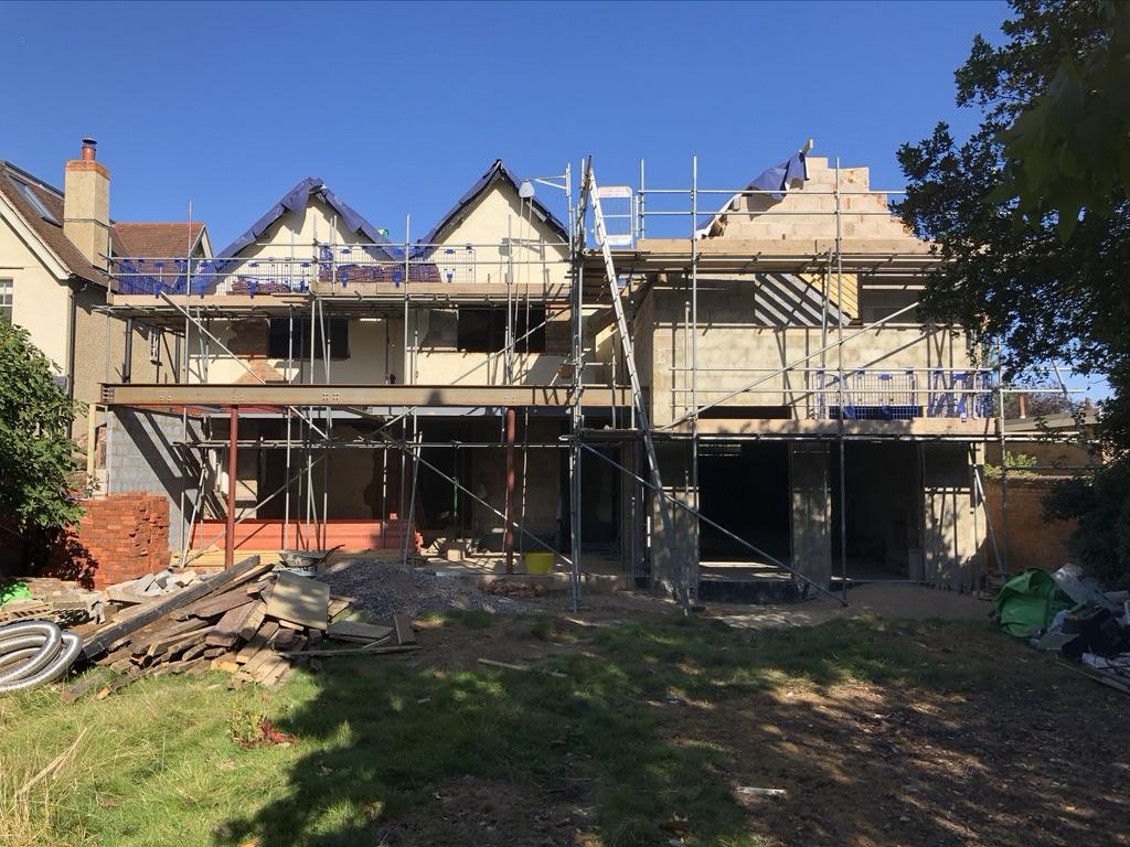 Building extension construction progress