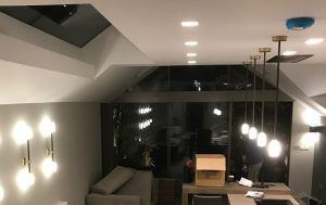 Bright lighting in a modern room