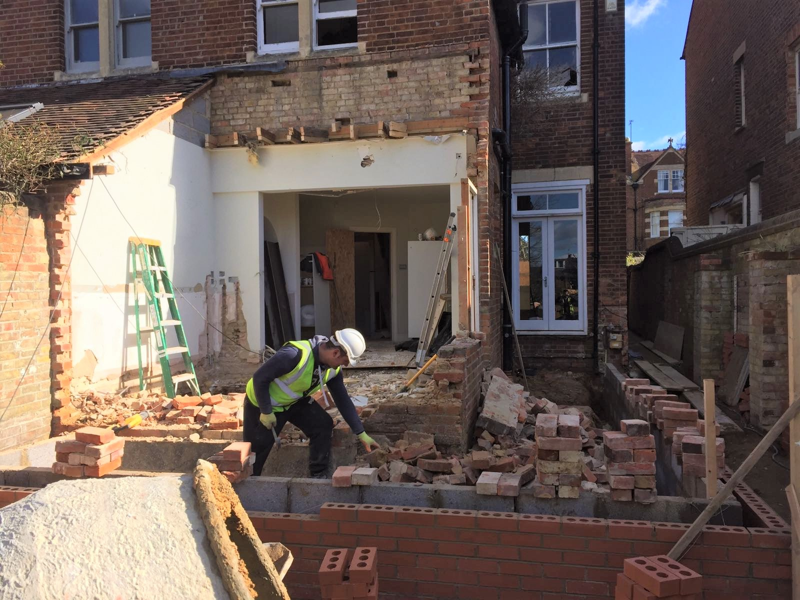 Beginning to build house extension